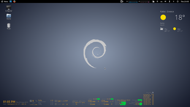 Conky Manager Debian & themes & Gold&Grey Modified by karanik
