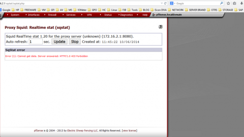 "PFSense Proxy Squid Sqstat ""Error (1)Cannot get data. Server answered : HTTP/1.0 403 Forbidden"""